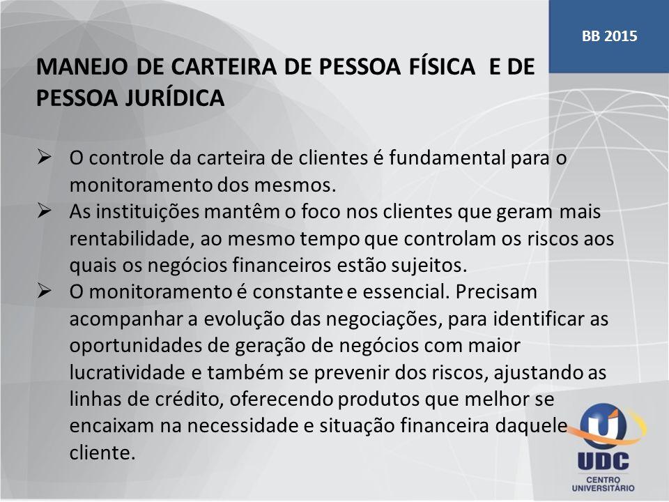 MANEJO DE CARTEIRA DE PESSOA FÍSICA E DE PESSOA JURÍDICA  O controle da carteira de clientes é fundamental para o monitoramento dos mesmos.  As inst