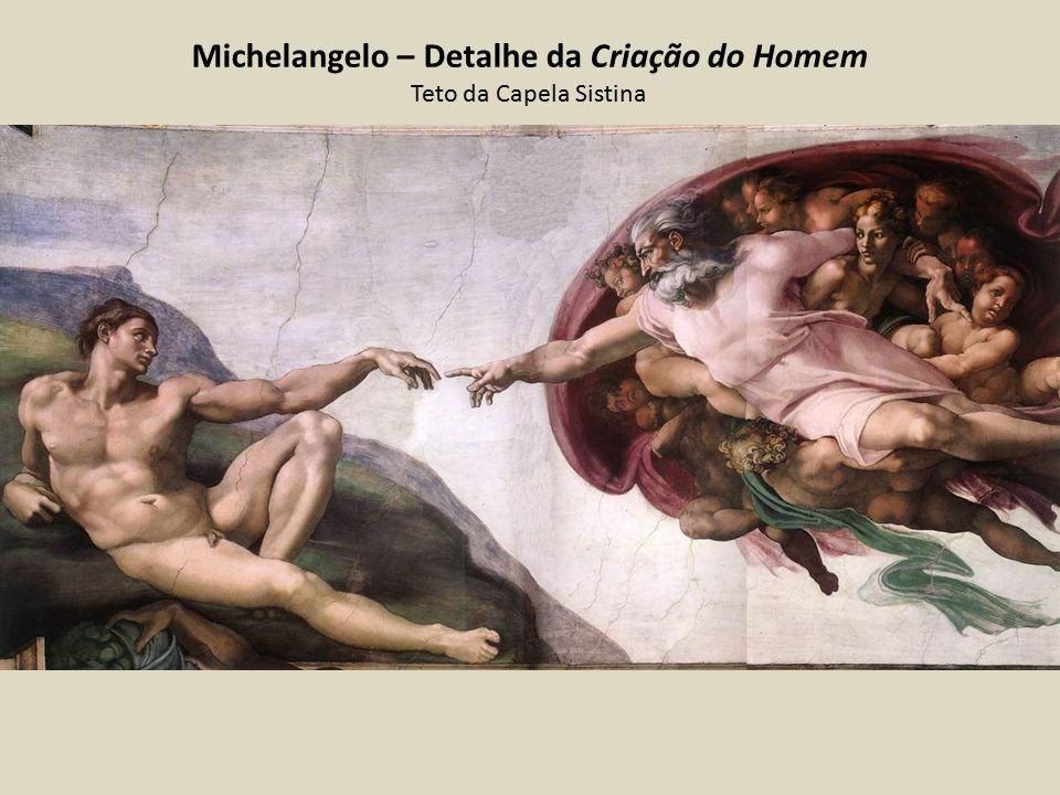 Michelangelo – Detalhe da Criação do Homem Teto da Capela Sistina