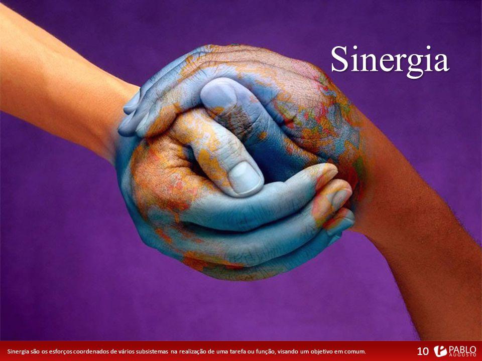 Sinergia Sinergia são os esforços coordenados de vários subsistemas na realização de uma tarefa ou função, visando um objetivo em comum.