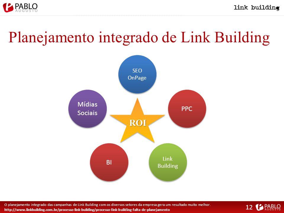Planejamento integrado de Link Building O planejamento integrado das campanhas de Link Building com os diversos setores da empresa gera um resultado muito melhor.