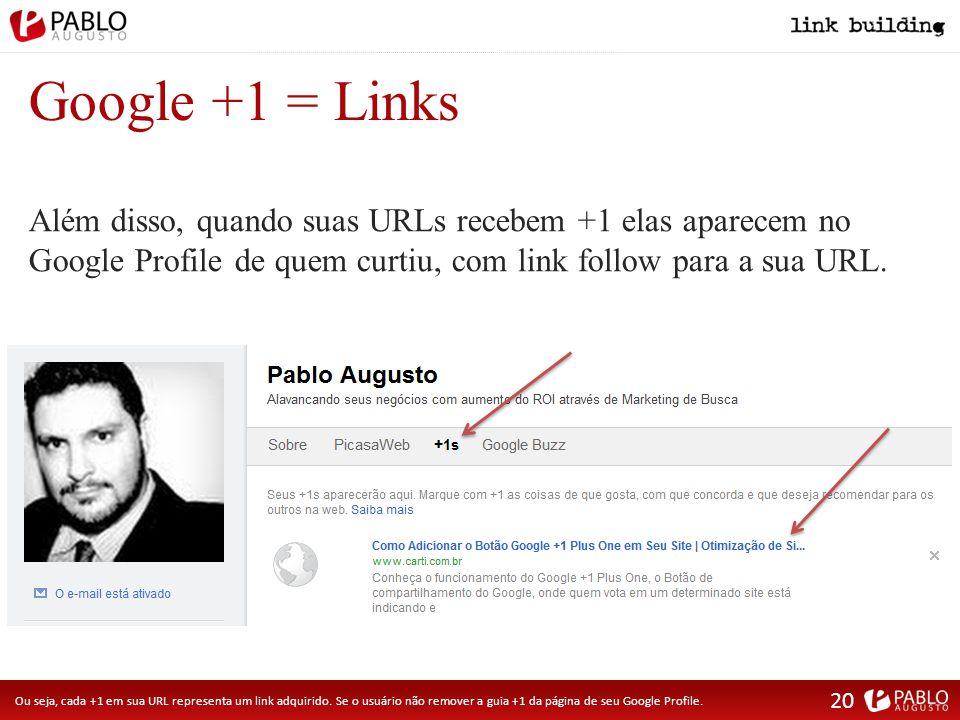 Google +1 = Links Ou seja, cada +1 em sua URL representa um link adquirido.
