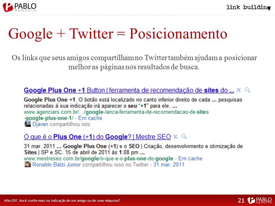 Google + Twitter = Posicionamento Alto CRT.