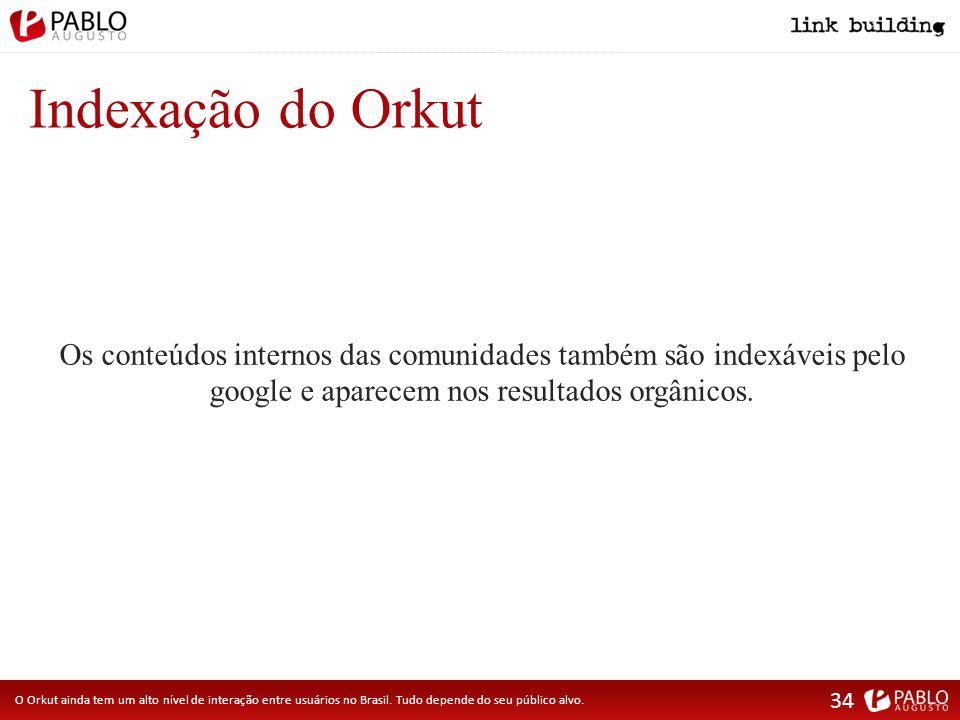 Indexação do Orkut O Orkut ainda tem um alto nível de interação entre usuários no Brasil.