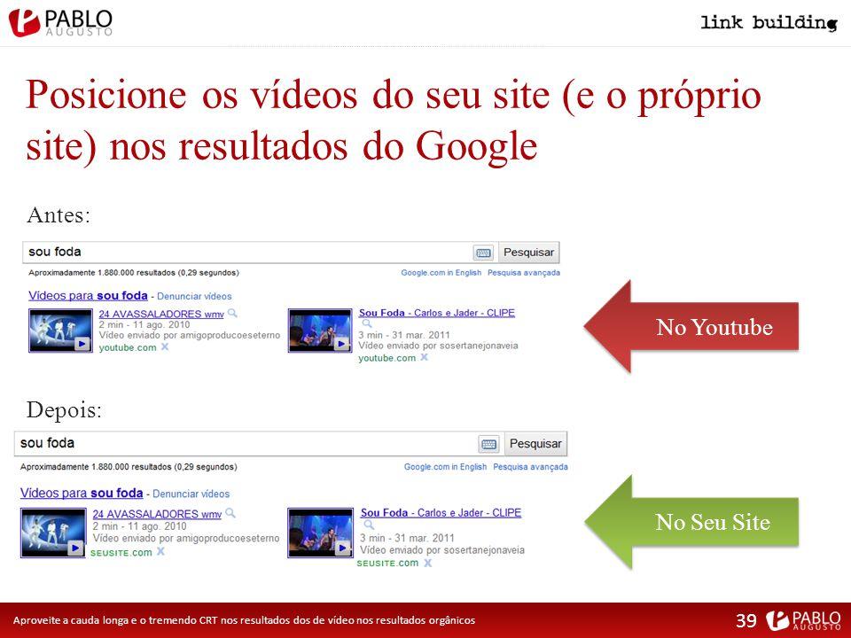 Posicione os vídeos do seu site (e o próprio site) nos resultados do Google Antes: No Seu SiteNo Youtube Depois: Aproveite a cauda longa e o tremendo CRT nos resultados dos de vídeo nos resultados orgânicos 39