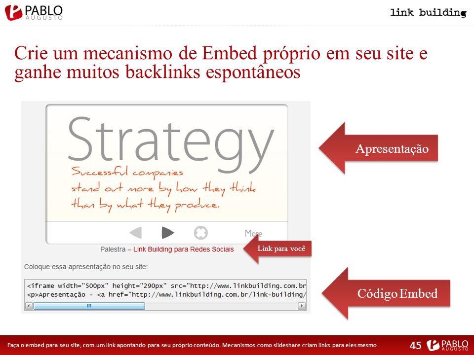 Crie um mecanismo de Embed próprio em seu site e ganhe muitos backlinks espontâneos Apresentação Link para você Código Embed Faça o embed para seu site, com um link apontando para seu próprio conteúdo.