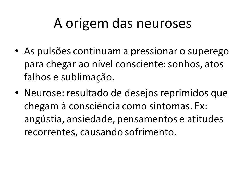 A origem das neuroses As pulsões continuam a pressionar o superego para chegar ao nível consciente: sonhos, atos falhos e sublimação. Neurose: result