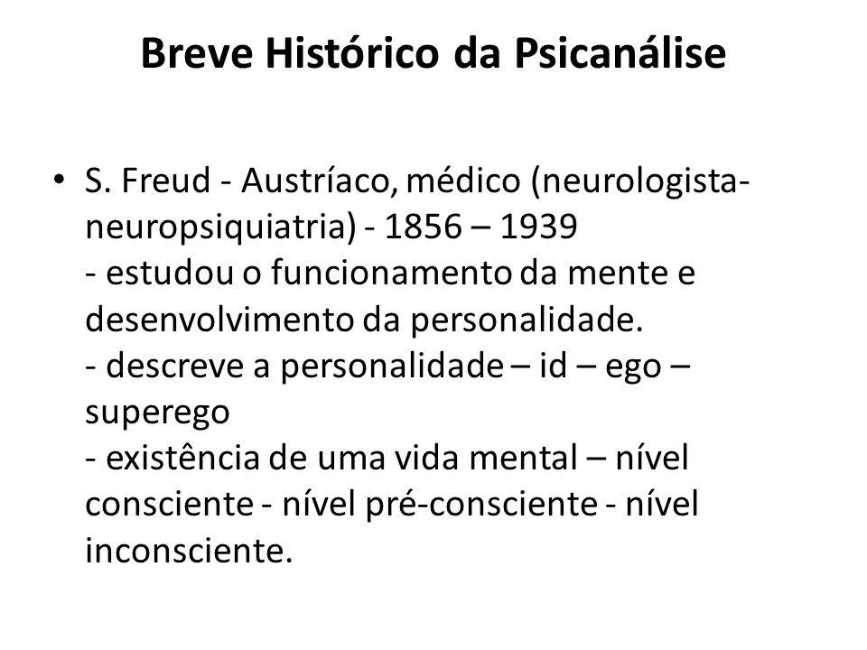 Breve Histórico da Psicanálise S. Freud - Austríaco, médico (neurologista- neuropsiquiatria) - 1856 – 1939  - estudou o funcionamento da mente e des