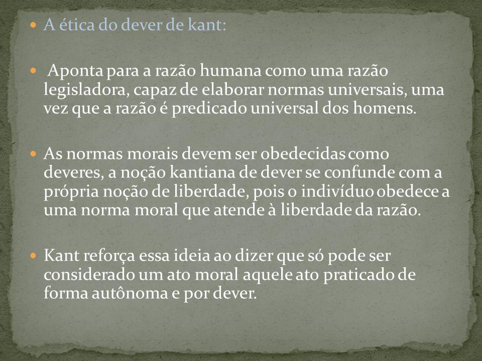 A ética do dever de kant: Aponta para a razão humana como uma razão legisladora, capaz de elaborar normas universais, uma vez que a razão é predicado