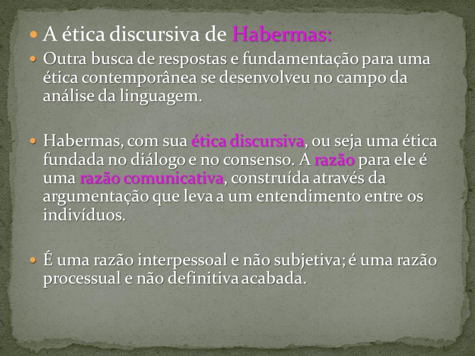 Habermas: A ética discursiva de Habermas: Outra busca de respostas e fundamentação para uma ética contemporânea se desenvolveu no campo da análise da