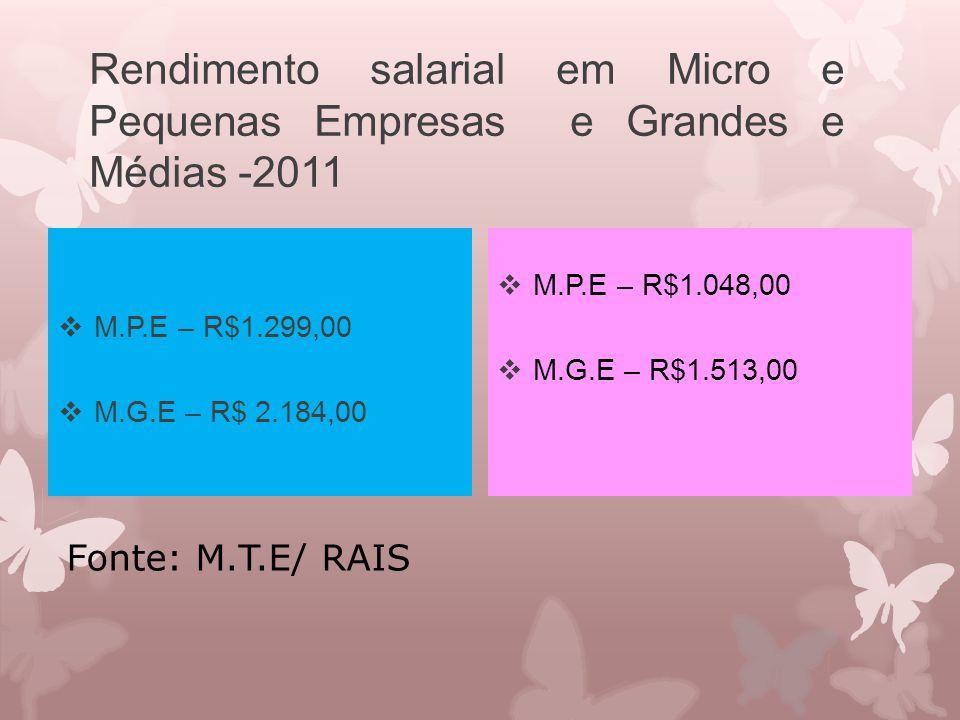 Rendimento salarial em Micro e Pequenas Empresas e Grandes e Médias -2011  M.P.E – R$1.299,00  M.G.E – R$ 2.184,00  M.P.E – R$1.048,00  M.G.E – R$