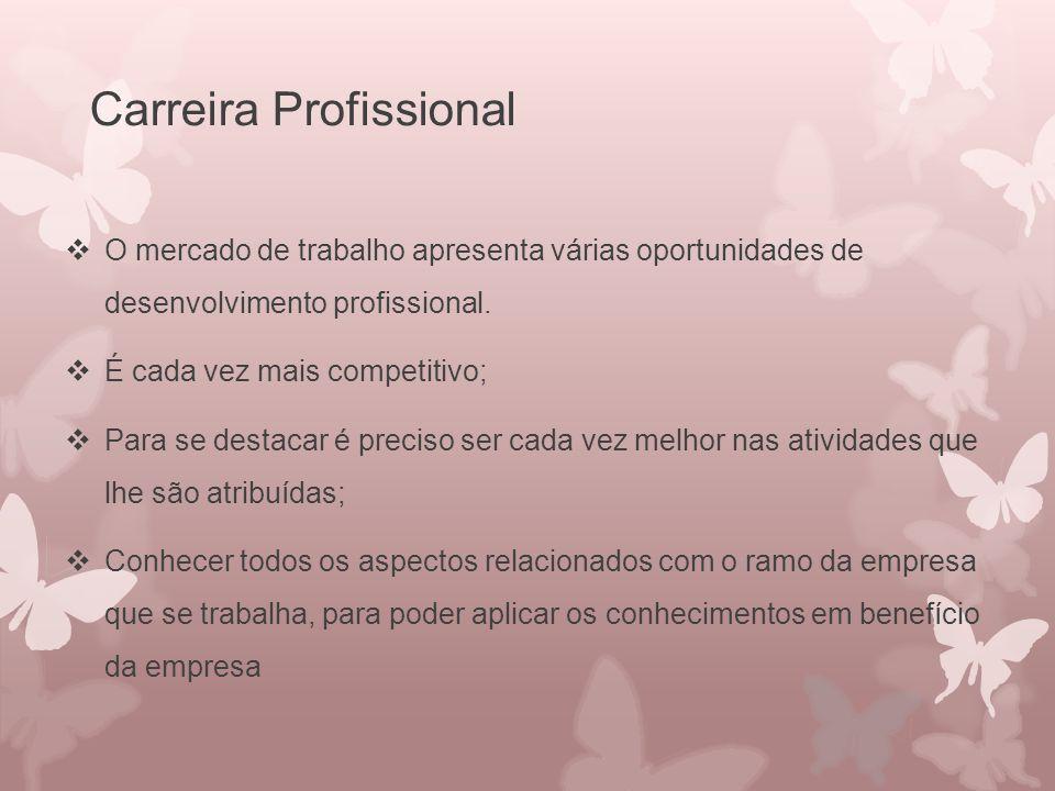 Carreira Profissional  O mercado de trabalho apresenta várias oportunidades de desenvolvimento profissional.  É cada vez mais competitivo;  Para se