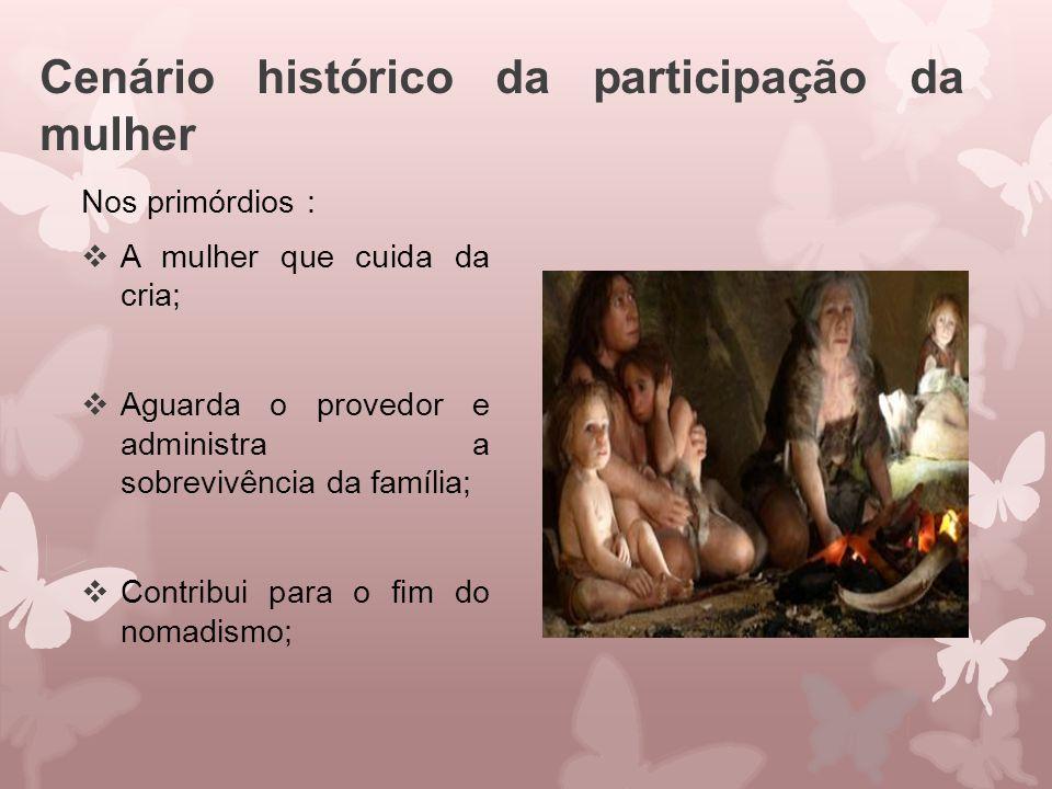 Cenário histórico da participação da mulher Nos primórdios :  A mulher que cuida da cria;  Aguarda o provedor e administra a sobrevivência da famíli
