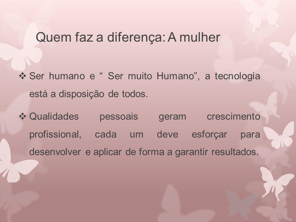"""Quem faz a diferença: A mulher  Ser humano e """" Ser muito Humano"""", a tecnologia está a disposição de todos.  Qualidades pessoais geram crescimento pr"""