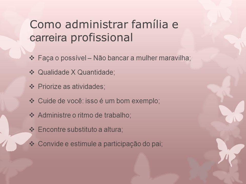 Como administrar família e carreira profissional  Faça o possível – Não bancar a mulher maravilha;  Qualidade X Quantidade;  Priorize as atividades