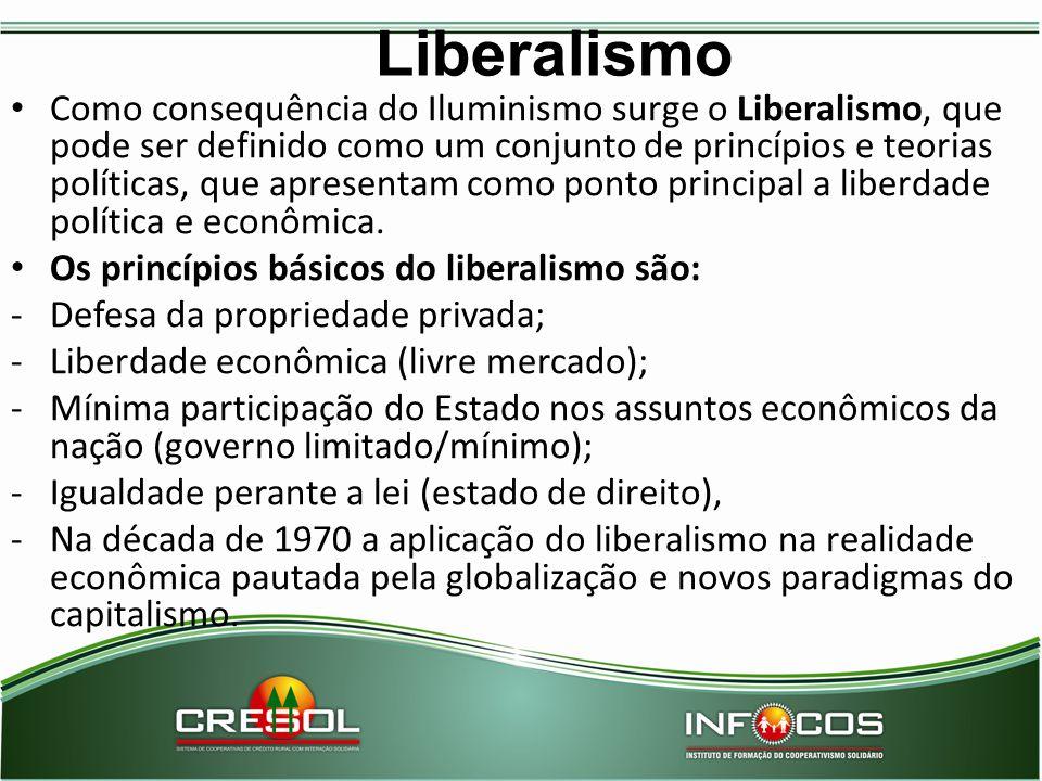 Liberalismo Como consequência do Iluminismo surge o Liberalismo, que pode ser definido como um conjunto de princípios e teorias políticas, que apresen