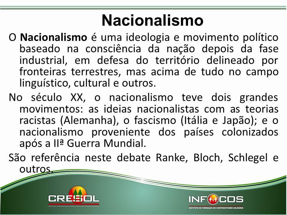 Nacionalismo O Nacionalismo é uma ideologia e movimento político baseado na consciência da nação depois da fase industrial, em defesa do território de