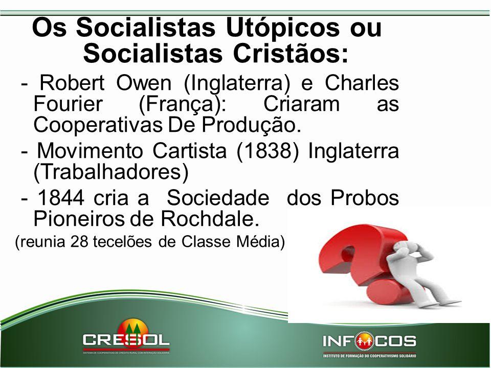 Os Socialistas Utópicos ou Socialistas Cristãos: - Robert Owen (Inglaterra) e Charles Fourier (França): Criaram as Cooperativas De Produção. - Movimen