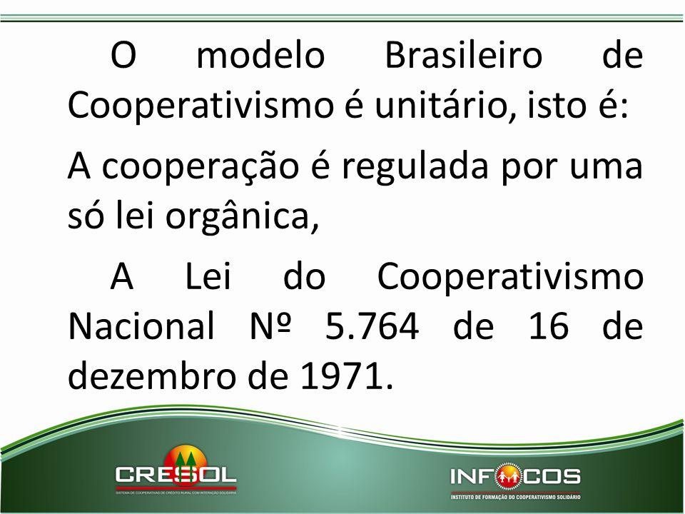 O modelo Brasileiro de Cooperativismo é unitário, isto é: A cooperação é regulada por uma só lei orgânica, A Lei do Cooperativismo Nacional Nº 5.764 d