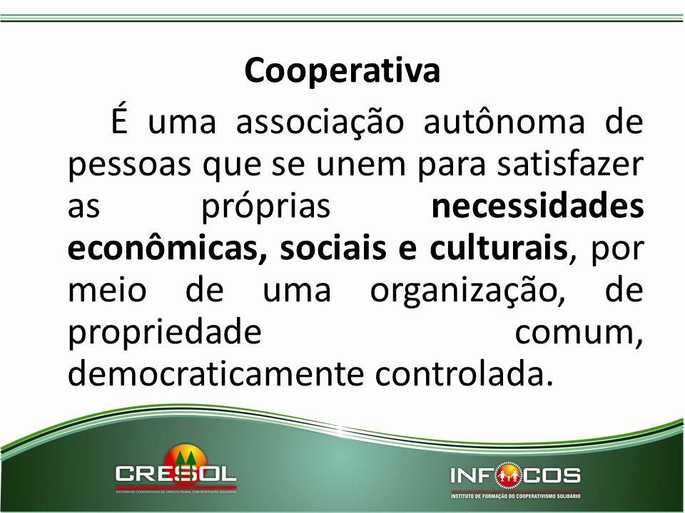 Cooperativa É uma associação autônoma de pessoas que se unem para satisfazer as próprias necessidades econômicas, sociais e culturais, por meio de uma