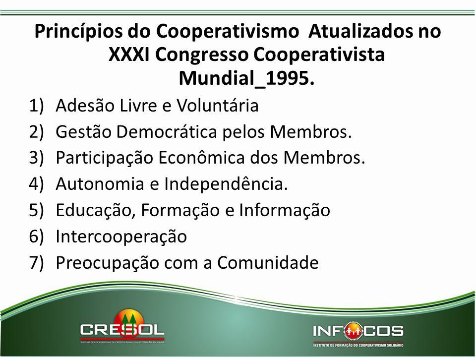 Princípios do Cooperativismo Atualizados no XXXI Congresso Cooperativista Mundial_1995. 1)Adesão Livre e Voluntária 2)Gestão Democrática pelos Membros