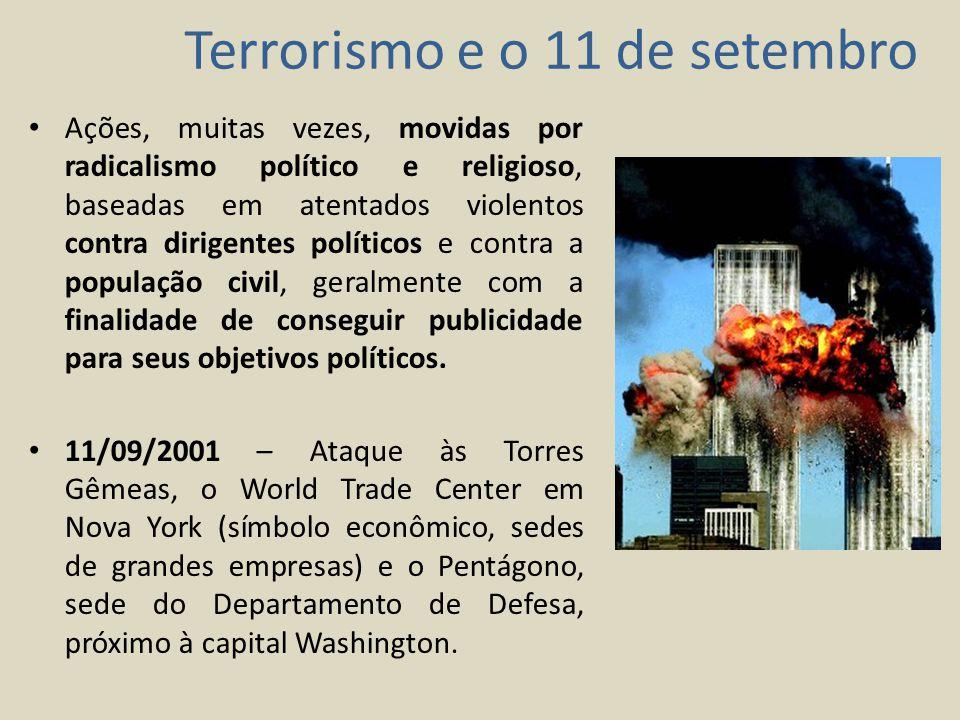 Consequências: Morte de mais de 3 mil pessoas; Fragilidade da hiperpotência mundial, cujas tecnologias de defesa eram consideradas imbatíveis; Busca por Osama Bin Laden (considerado o inimigo número 1 dos EUA, antigo aliado norte-americano durante a ocupação soviética no Afeganistão durante a Guerra Fria); Observações: Nos anos 90, Osama Bin Laden passou a demonstrar insatisfação pelas ações da política externa norte-americana (inclusive na Arábia Saudita, sua terra natal) e passou a ser visto como terrorista .
