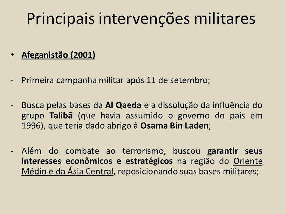Invasão do Iraque (2003) - Com o apoio do Reino Unido e outros países, a intervenção foi considerada unilateral, sem prévia consulta, negociação ou opinião de outras nações ou organizações internacionais (principalmente a ONU); - Motivos: que o Iraque detinha a posse de armas (químicas e biológicas) de destruição em massa (possível cooperação com bases terroristas); - Sem o apoio da ONU a operação resultou na deposição do ditador iraquiano Saddan Hussein (após julgado, condenado a morte);
