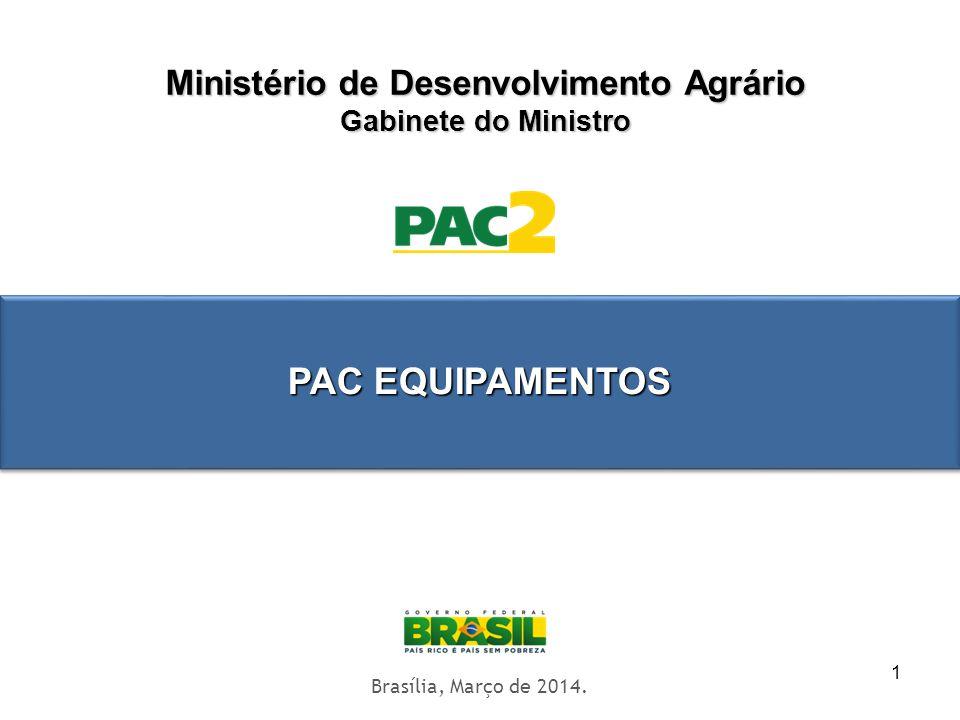 1 Ministério de Desenvolvimento Agrário Gabinete do Ministro Territórios Digitais Brasília, Março de 2014. PAC EQUIPAMENTOS