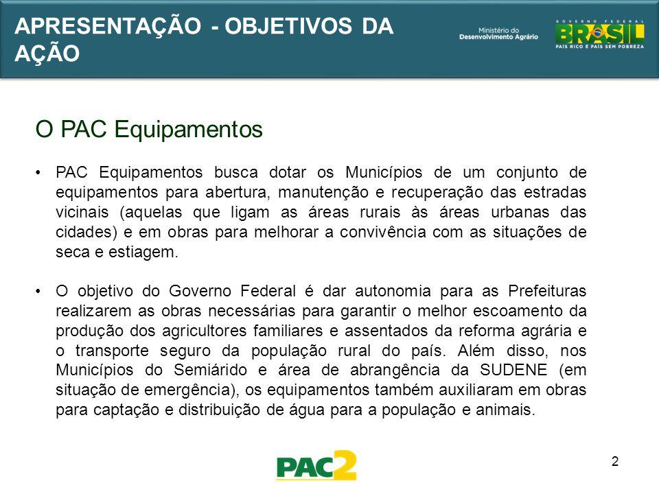 2 APRESENTAÇÃO - OBJETIVOS DA AÇÃO O PAC Equipamentos PAC Equipamentos busca dotar os Municípios de um conjunto de equipamentos para abertura, manuten