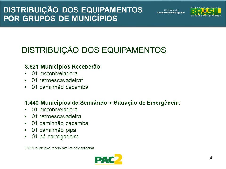 4 DISTRIBUIÇÃO DOS EQUIPAMENTOS POR GRUPOS DE MUNICÍPIOS *3.631 municípios receberam retroescavadeiras 3.621 Municípios Receberão: 01 motoniveladora 0