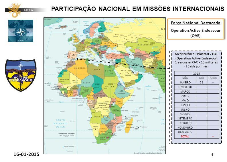PARTICIPAÇÃO NACIONAL EM MISSÕES INTERNACIONAIS 6 16-01-2015 Força Nacional Destacada Operation Active Endeavour (OAE) Força Nacional Destacada Operation Active Endeavour (OAE) Mediterrâneo Ocidental - OAE (Operation Active Endeavour) 1 aeronave P3-C + 13 militares (1 Saída por mês) 2015 MÊSDIAHORAS JANEIRO22-- FEVEREIRO MARÇO ABRIL MAIO JUNHO JULHO AGOSTO SETEMBRO OUTUBRO NOVEMBRO DEZEMBRO TOTAL --