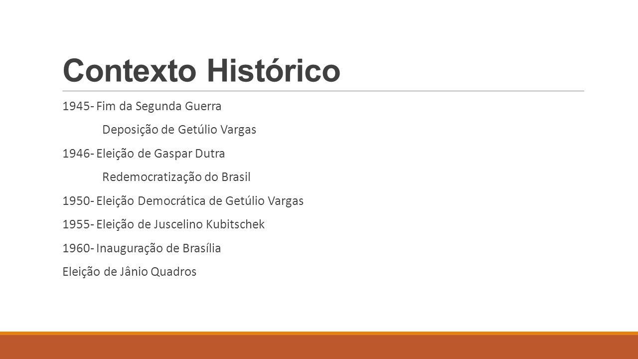 Contexto Histórico 1945- Fim da Segunda Guerra Deposição de Getúlio Vargas 1946- Eleição de Gaspar Dutra Redemocratização do Brasil 1950- Eleição Demo