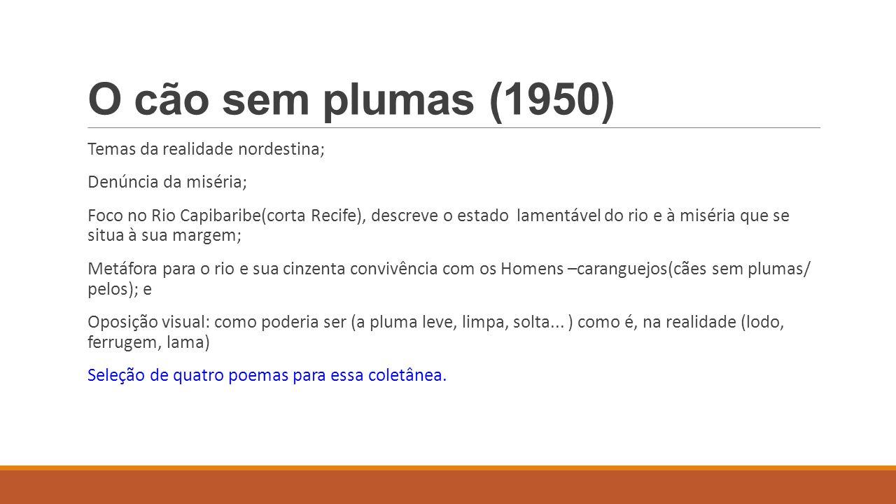 O cão sem plumas (1950) Temas da realidade nordestina; Denúncia da miséria; Foco no Rio Capibaribe(corta Recife), descreve o estado lamentável do rio