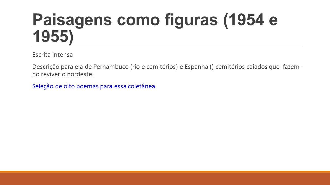 Paisagens como figuras (1954 e 1955) Escrita intensa Descrição paralela de Pernambuco (rio e cemitérios) e Espanha () cemitérios caiados que fazem- no