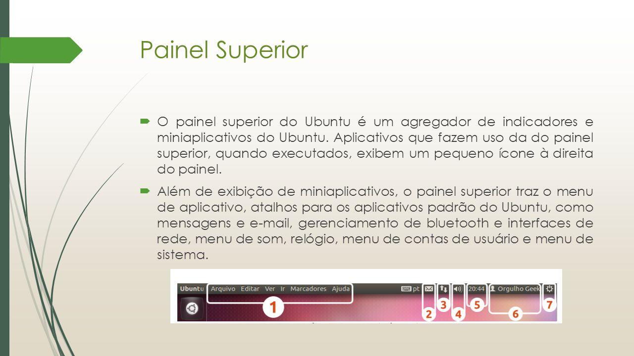 Painel Superior  O painel superior do Ubuntu é um agregador de indicadores e miniaplicativos do Ubuntu. Aplicativos que fazem uso da do painel superi