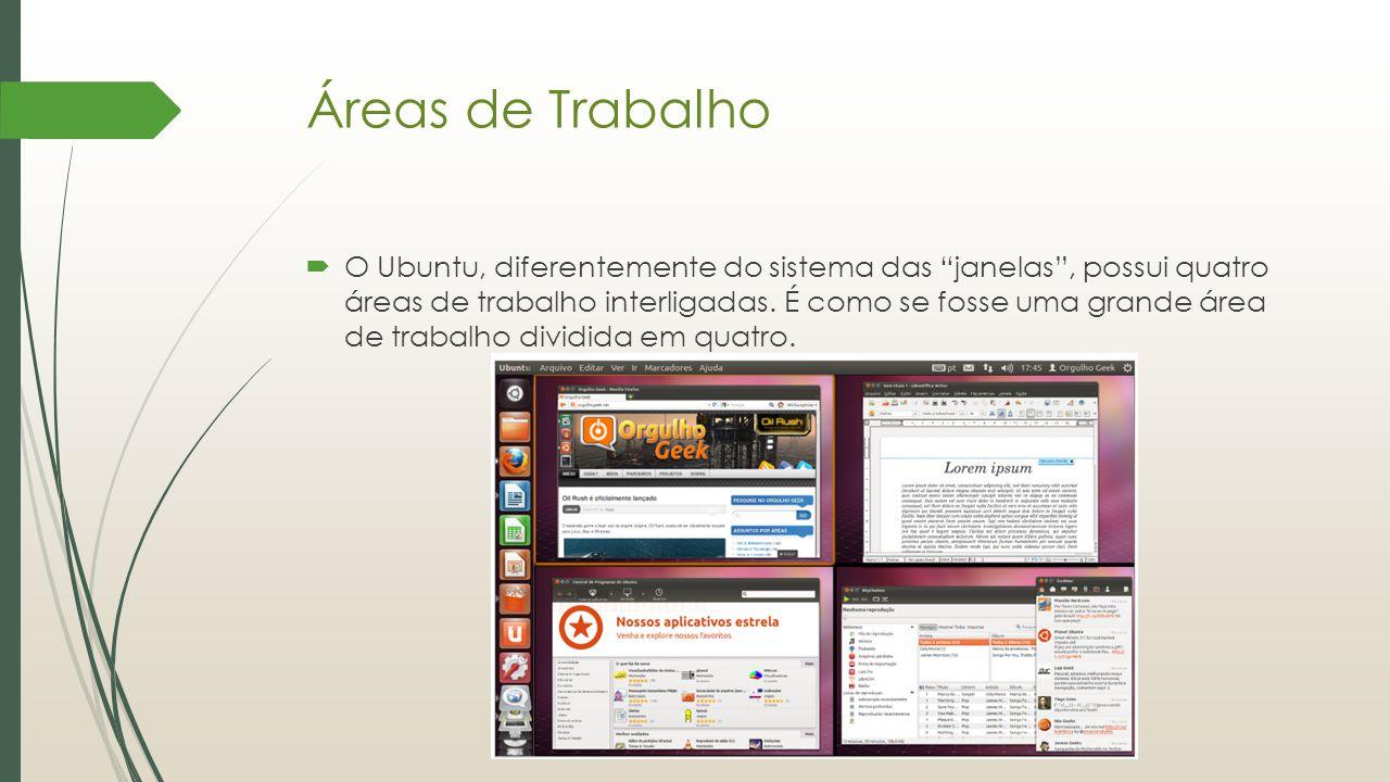 """Áreas de Trabalho  O Ubuntu, diferentemente do sistema das """"janelas"""", possui quatro áreas de trabalho interligadas. É como se fosse uma grande área d"""