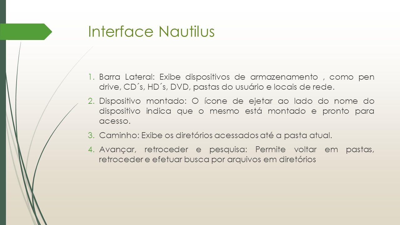 1.Barra Lateral: Exibe dispositivos de armazenamento, como pen drive, CD´s, HD´s, DVD, pastas do usuário e locais de rede. 2.Dispositivo montado: O íc