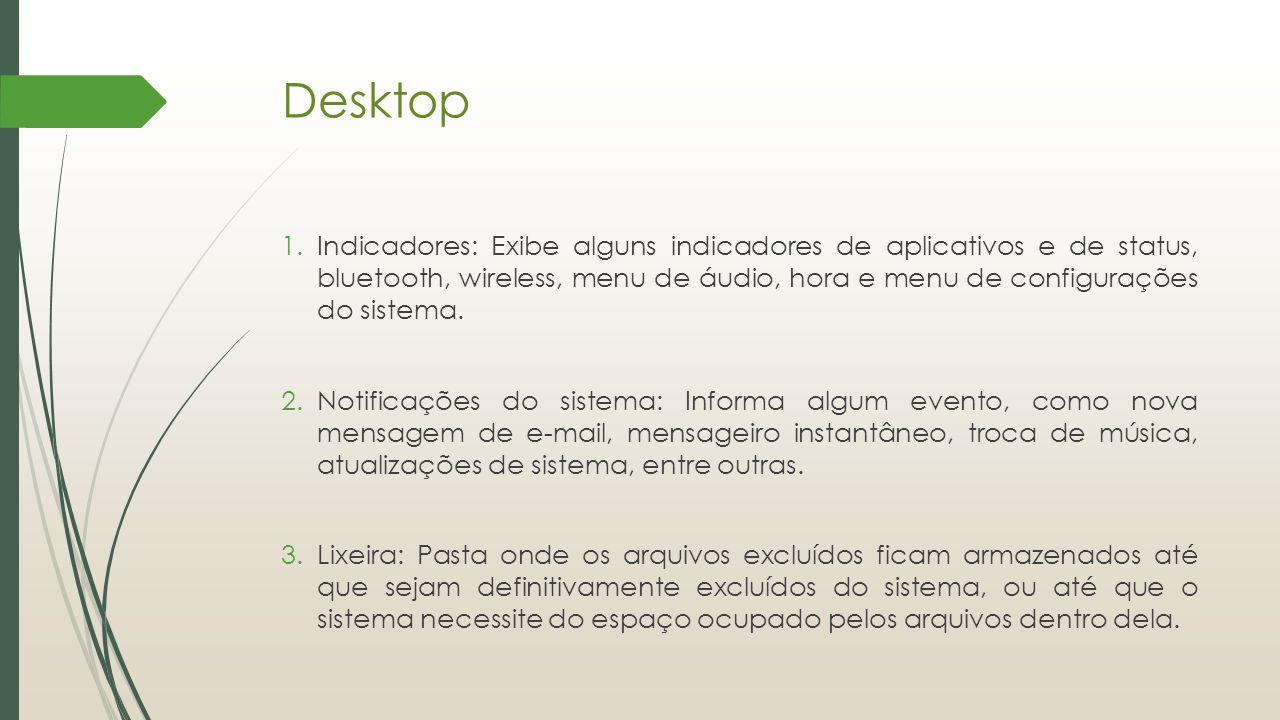 Desktop 1.Indicadores: Exibe alguns indicadores de aplicativos e de status, bluetooth, wireless, menu de áudio, hora e menu de configurações do sistem