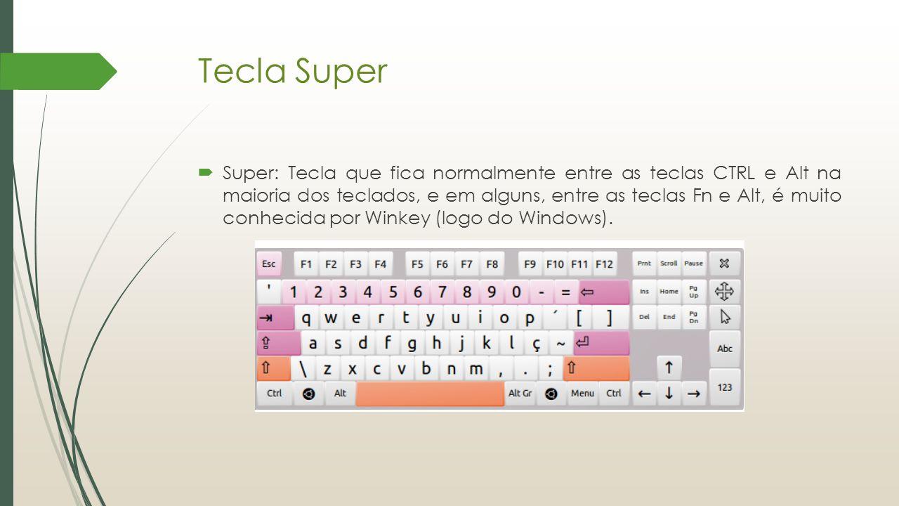 Tecla Super  Super: Tecla que fica normalmente entre as teclas CTRL e Alt na maioria dos teclados, e em alguns, entre as teclas Fn e Alt, é muito con