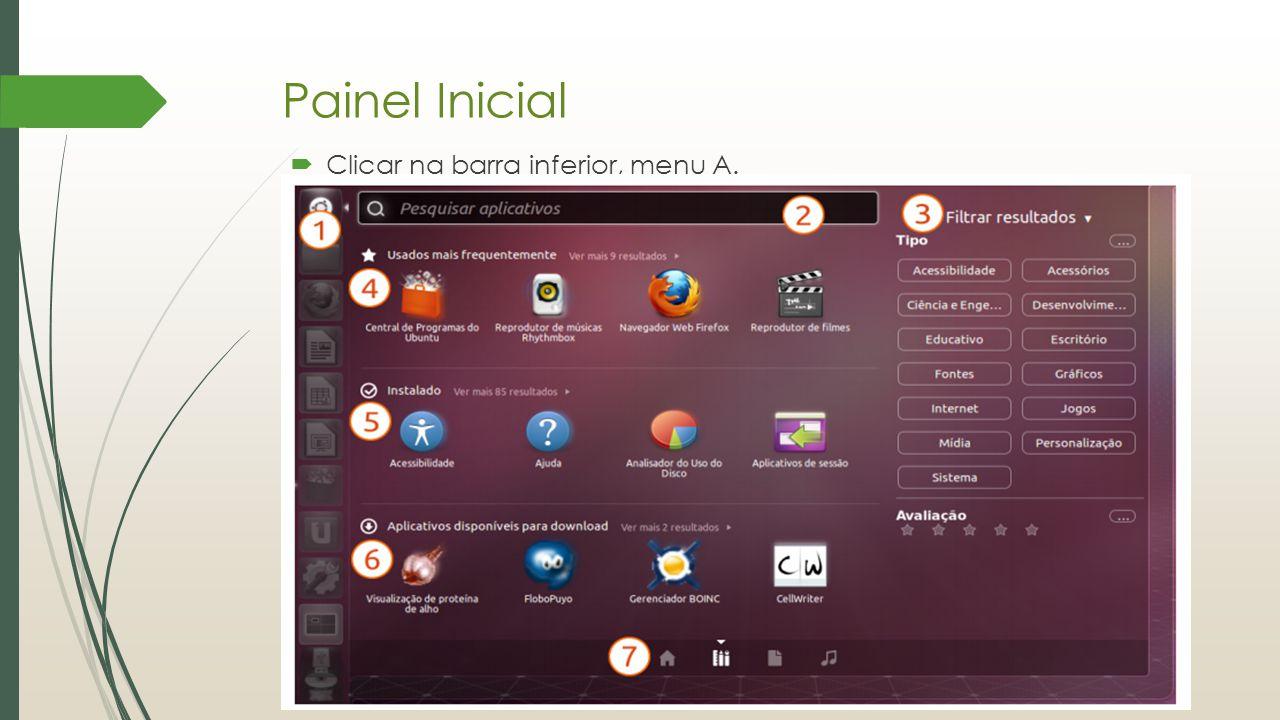 Painel Inicial 1.Ícone de acesso: Abre o Painel Inicial.