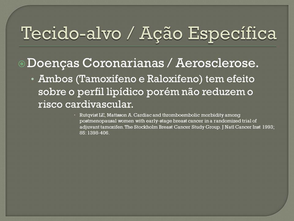  Doenças Coronarianas / Aerosclerose. Ambos (Tamoxifeno e Raloxifeno) tem efeito sobre o perfil lipídico porém não reduzem o risco cardivascular.  R
