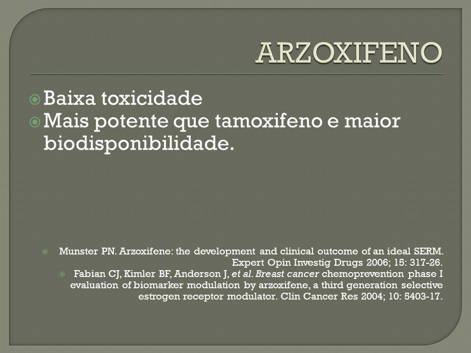  Baixa toxicidade  Mais potente que tamoxifeno e maior biodisponibilidade.  Munster PN. Arzoxifene: the development and clinical outcome of an idea