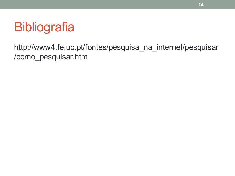 Bibliografia http://www4.fe.uc.pt/fontes/pesquisa_na_internet/pesquisar /como_pesquisar.htm 14