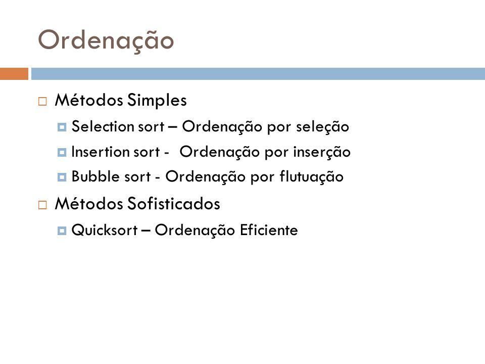Ordenação  Métodos Simples  Selection sort – Ordenação por seleção  Insertion sort - Ordenação por inserção  Bubble sort - Ordenação por flutuação