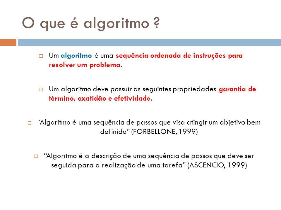 O que é algoritmo ?  Um algoritmo é uma sequência ordenada de instruções para resolver um problema.  Um algoritmo deve possuir as seguintes propried
