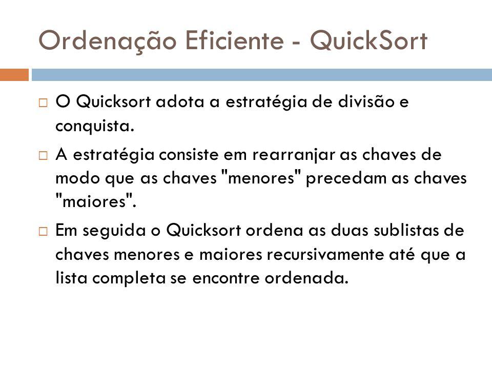 Ordenação Eficiente - QuickSort  O Quicksort adota a estratégia de divisão e conquista.  A estratégia consiste em rearranjar as chaves de modo que a