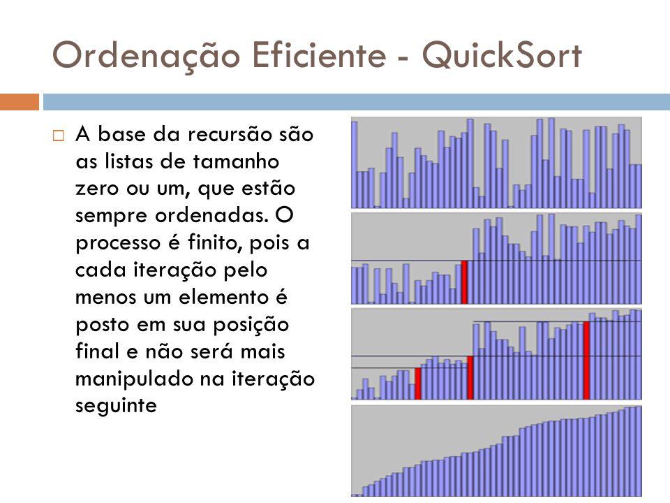 Ordenação Eficiente - QuickSort  A base da recursão são as listas de tamanho zero ou um, que estão sempre ordenadas. O processo é finito, pois a cada