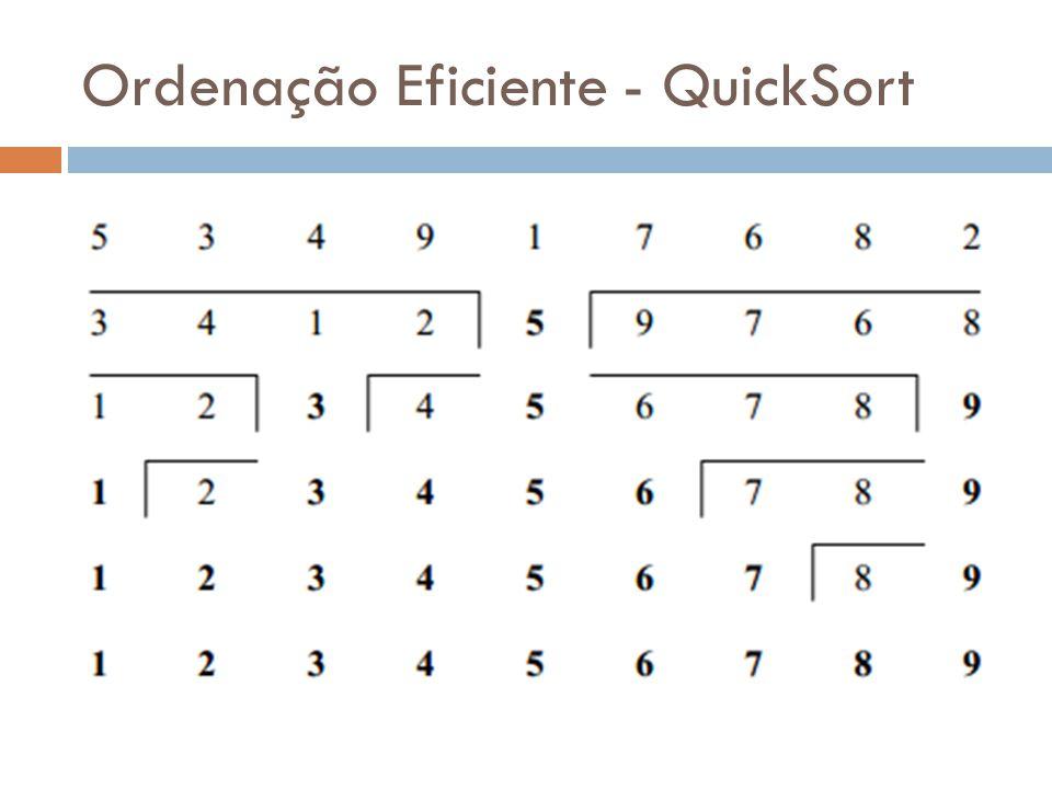 Ordenação Eficiente - QuickSort