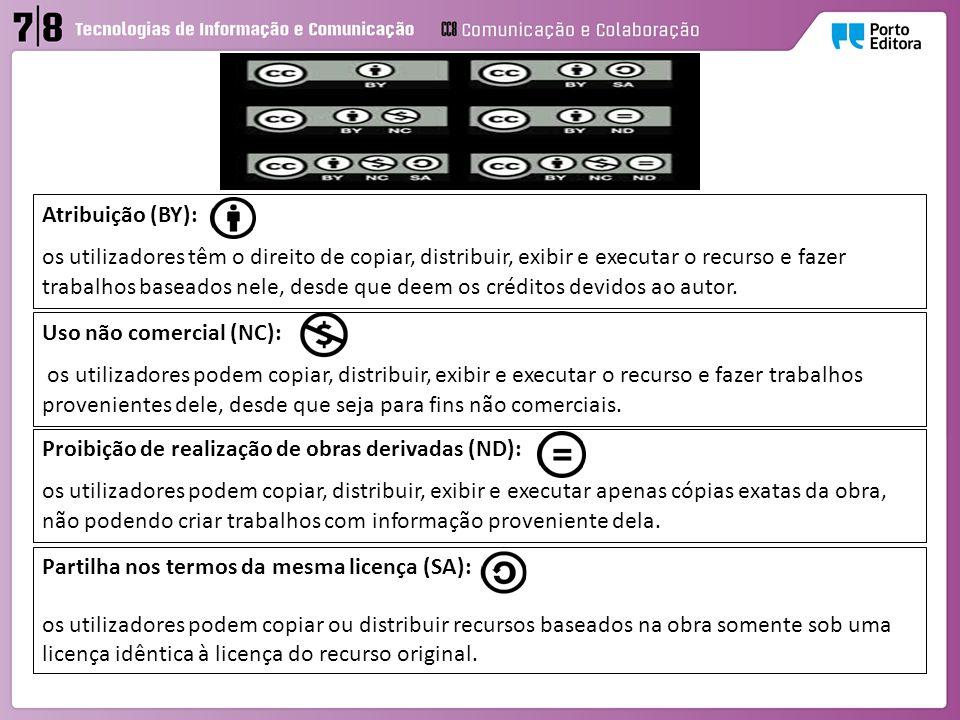 Atribuição (BY): os utilizadores têm o direito de copiar, distribuir, exibir e executar o recurso e fazer trabalhos baseados nele, desde que deem os créditos devidos ao autor.