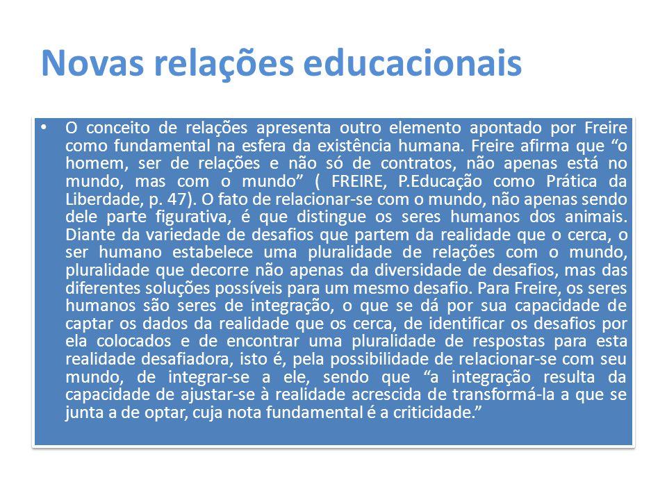 Novas relações educacionais O conceito de relações apresenta outro elemento apontado por Freire como fundamental na esfera da existência humana. Freir