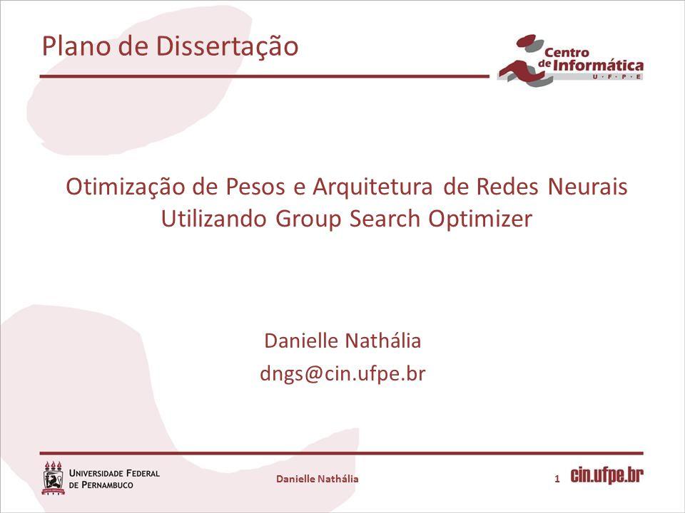 Otimização de Pesos e Arquitetura de Redes Neurais Utilizando Group Search Optimizer Danielle Nathália dngs@cin.ufpe.br 1Danielle Nathália Plano de Dissertação